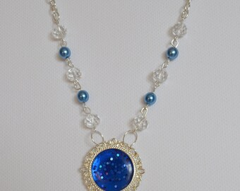 Necklace Blue glitter, resin pendant