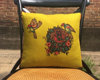 Cotton-Canvas-Bird Leaving Nest-Pillow-Cushion-Olive-Burgundy