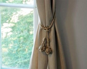 Monkey Fist Knot Tassel Hemp Rope Curtain Tie Backs / Nautical Ties/ Shabby Chic Window treatment/ rustic hold backs/ rope tie backs