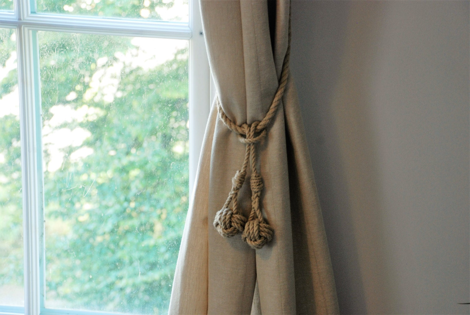 Open window with curtains blowing - Monkey Fist Knot Tassel Hemp Rope Curtain Tie Backs Nautical Ties Shabby Chic Window Treatment Rustic Hold Backs Rope Tie Backs