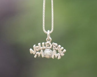 Volleyball Mom 925 Silver Charm - FREE SHIPPING within USA