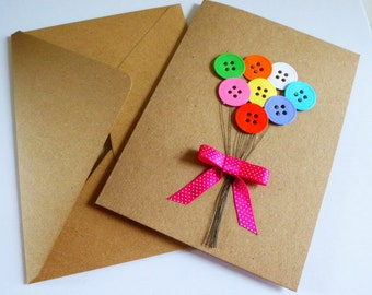 Homemade card - birthdays - thank you - balloons - envelope included