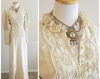 On Sale Vintage 70's JOY STEVENS California Bohemian Crochet Lace Puckered Cotton Maxi Dress Victorian Hippie