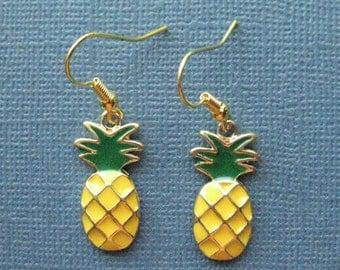 Pineapple Earrings - Dangle Earrings - Fruit Earrings - Pineapple Jewelry - Fruit Jewelry -- E109