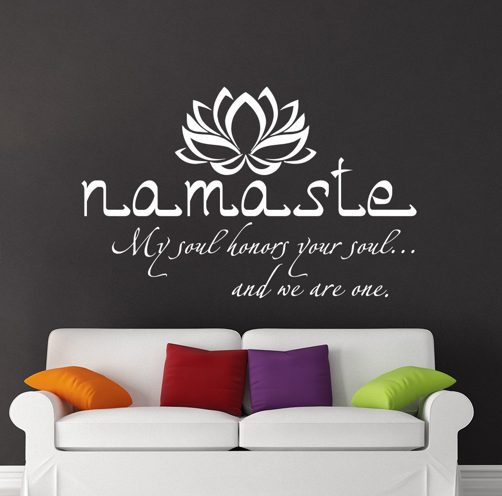 Sticker mural namaste citation vinyle autocollant stickers for Mural en francais