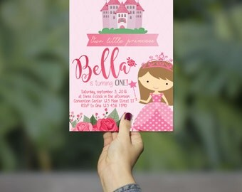 Cute Pink Princess Birthday Invitation