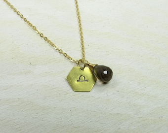 Zodiac necklace, birthday necklace, libra scales charm with birthstone, gold colored brass chain, personalized jewelry, handmade