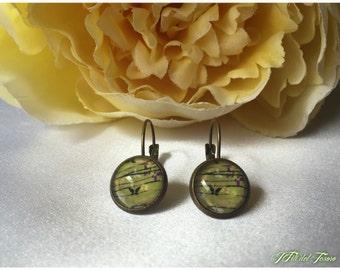 Spring earrings, bronze earrings cabochon glass butterflies, bridesmaid gift, springearrings Gift for her style, Sarabanda,
