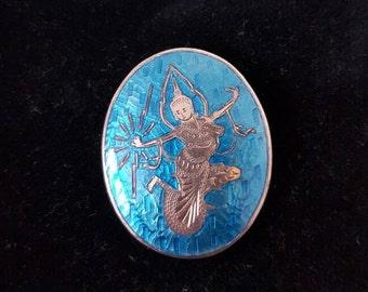 Beautiful Thai Silver and Blue Enamel Brooch. Goddess of lightning