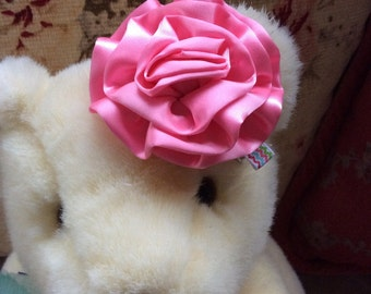 Satiny Pink Flower Hair Clip