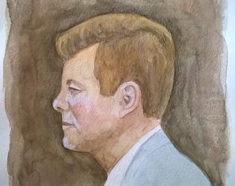 JFK portrait - watercolor