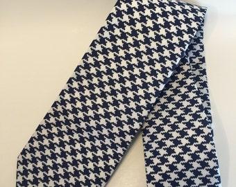 Houndstooth Tie - Blue Tie - White Tie
