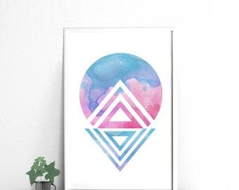 Abstract Minimalist watercolor download, Blue and pink abstract art, 24x36 print poster, large wall art, printable artwork, digital print