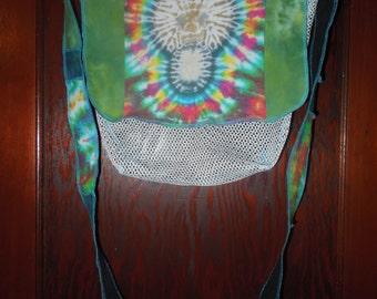 Tie Dye Morel and Upcycled Denim Mushroom Hunting Messenger Mesh Bag