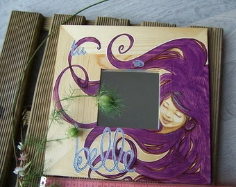 Painted mirror frame wooden, gift idea for her