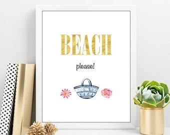 BEACH Gold print, Beach printable, Beach Quotes, Beach Bag print, Summer positive print, Holiday Quote, Digital print shop