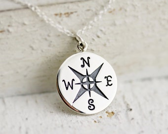 Compass Necklace - Large Sterling Silver Compass Necklace - Compass Pendant - Graduation Jewelry - Travel Necklace - Graduation Gift