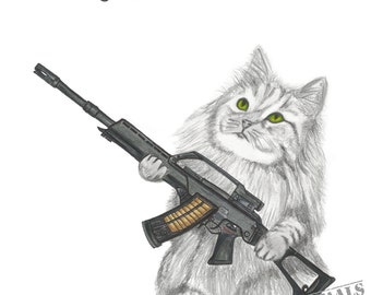 Ryzhik the Exterminator, Original Animal Art Print, Norwegian Forest Cat, G36E, Heckler & Koch, Assault Rifle, Mouse, Cute