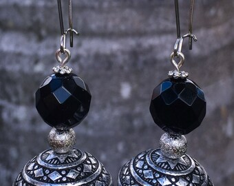 Ornate antique silver and onyx earrings