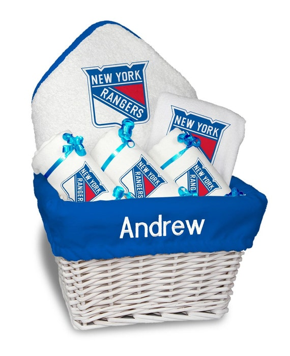 Baby Gift Baskets New York : Personalized new york rangers baby gift basket bib burp