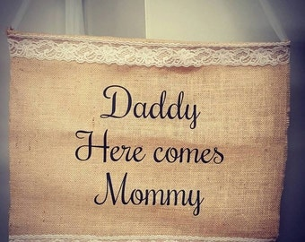 Ring bearer or Flower girl Burlap wedding sign