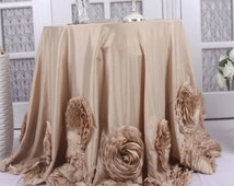 Gorgeous Champagne Rosette Tablecloth Perfect for your Special Day