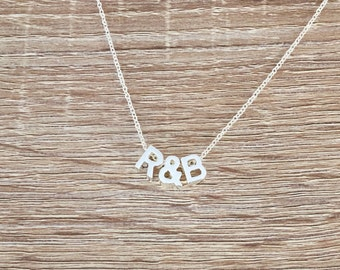 Monogram Necklace, Personalized Jewelry, Two Letter Pendant, Ampersand Charm, 2 Initial, Small Block Uppercase Alphabet Bead, Silver Plated