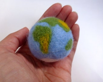 Сat toy ball planet earth, felted cat ball, wool ball, natural cat toys