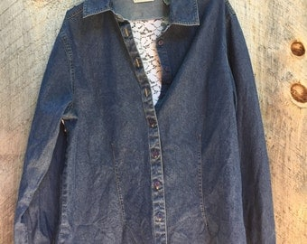 Upcycled denim and lace button down shirt