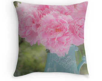 Dreamy Flower Pillow ~ Pink Pillow ~ Shabby Chic Decor ~ Feminine Art ~Teal Throw Pillow ~ Pink Peonies Pillow Cover ~ Floral Photography