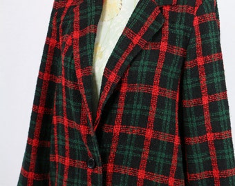 Red and Green Check Boyfriend Jacket Size M/L
