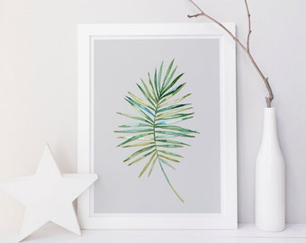 Printable palm leaf print, palm leaf wall art, Palm leaf wall decor, Tropical wall art, minimalist wall art, contemporary wall print, art