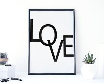 Love quote wall art, Typography, Love Quote print, printable wall art, Minimalist Typography print, Fashion print, Modern art, scandinavian