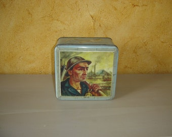 Boite tôle mineur. Confiserie Debie Lokeren Dewulf.  Old tin box . Bruxelles. Vintage.