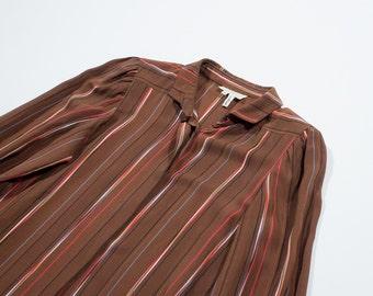 SCHIAPPARELLI - Brown silk long sleeved shirt