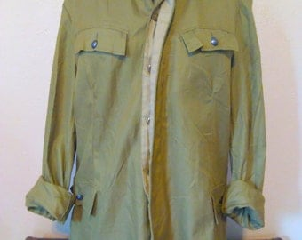 Vintage Military Shirt, Olive Green Jacket, Army Button Up, Oversized Military Shirt, Grunge Jacket