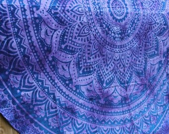 Roundie / Round Fabric with Mandala - Purple Tie-Dye - Beach, Yoga, Dorm, College Bohemian Boho