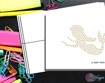Personalize gold mermaid Thank You Cards / Custom mermaid Stationery / Personalized mermaid Stationery Set  / Set of 12 note cards