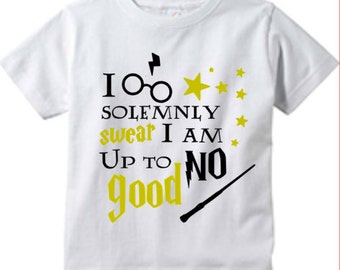 Harry Potter Inspired - Toddler Shirt - Graphic Tee - Hogwarts - I Solemnly Swear I am Up to No Good - Little Kids - Toddler Gift