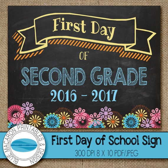 This is a picture of Comprehensive First Day of 2nd Grade Printable Sign
