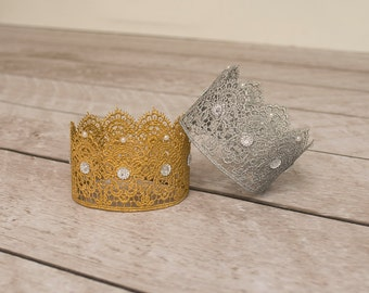 Newborn Lace Crown, Baby Crown, Gold Lace Crown, Mini Crown, Cake Topper