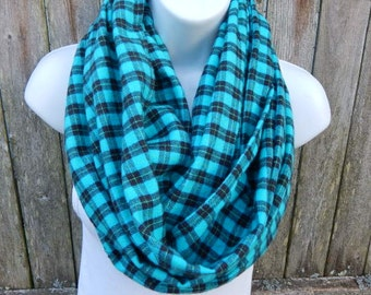 Turquoise and Black Plaid Infinity Scarf