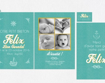 Announcements and stationery birth Marin