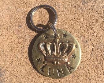 Pet id tag, crown dog tag, pet id tag, custom dog tag, Custom dog tag, personalized, hand stamped dog tag, Crown, personalize dog tag,pet id