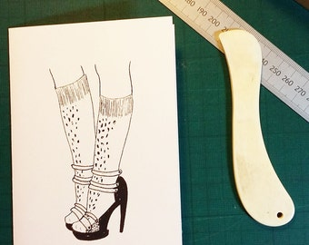 Sandals and socks card, A6 hand screen printed