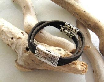 Italian Brown Leather & Antique Silver Bead Cuff Bracelet, Leather Cuff Bracelet, Two Strand Leather Bracelet, Leather and Silver Bracelet