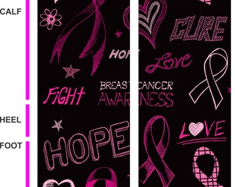 Breast Cancer Awareness Socks - Hope Socks - Pink Ribbon