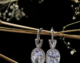 Bridal wedding earrings, white gold filled , Swarovski crystal