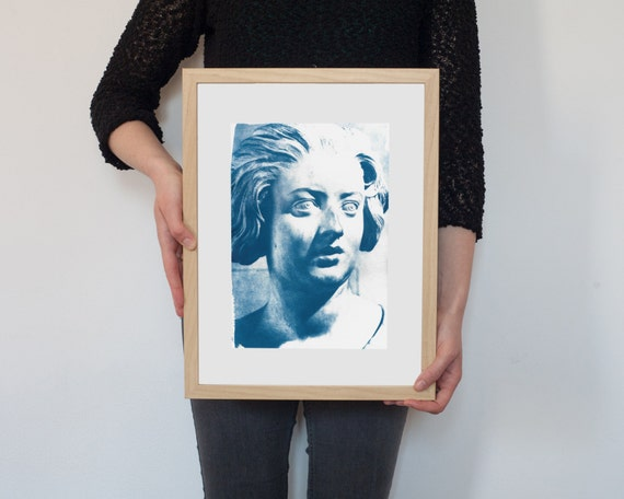 Bernini Expressive Woman Bust Sculpture, Cyanotype Print on Watercolor Paper, A4 size (Limited Edition)