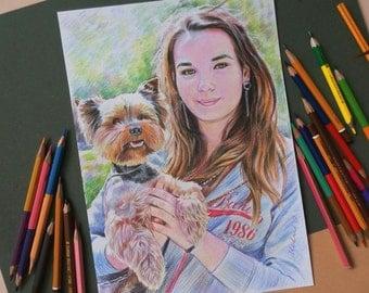 Portrait. Portrait color pencil. Color Pencil. Portrait Girl. Portrait from photo. Girl.